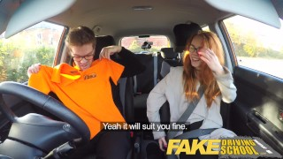 Fake Driving School Nerdy redhead teen student fucked to creampie orgasm Wanking cock