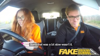 Fake Driving School Nerdy redhead teen student fucked to creampie orgasm Five cum