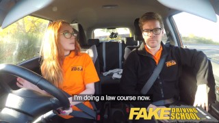 Fake Driving School Nerdy redhead teen student fucked to creampie orgasm porno