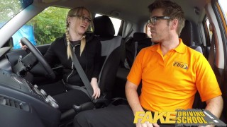 Fake Driving School Young college student takes a creampie for free lessons  driving instructor blonde teen fake taxi creamy pussy british pigtails glasses funny blowjob pov english young hairy-pussy teen creampie grool british teen teenager wet-pussy fuck
