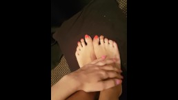Oiled up foot massage