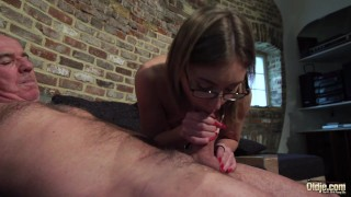 Old and Young Porn - Grandpa Fucks Teen Pussy fingers her twat and cumshot Gag bondage