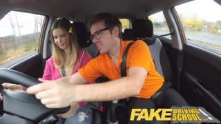 Fake Driving School full scene - Hot Italian learner with big natural tits Brunette espanola