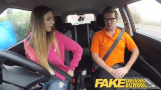 Fake Driving School full scene - Hot Italian learner with big natural tits Big icest