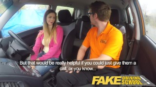 Fake Driving School full scene - Hot Italian learner with big natural tits Facial petite