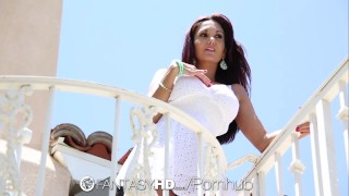 FantasyHD Huge breasted Ava Addams takes a load on her tits  big-tits outdoors hd french fantasyhd blowjob mom cumshot big-boobs bikini busty hardcore brunette fantasy sex mother ava addams