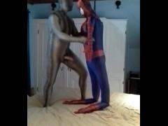 zentai croc has some fun with captured dummy spiderman