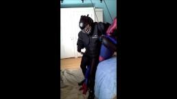 black gear guy cums on dummy spiderman