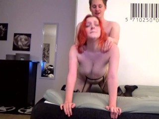 Redhead with big tits gets fucked from behind