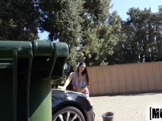 Mofos - Curvy teen gets watched washing her car