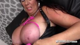 Busty Cougar Lulu Lush bondage her huge natural boobs and masturbate