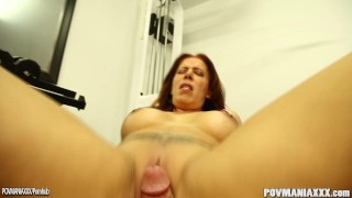 Busty Nicky Ferrari sucks a cock and squirts on it POV