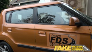 fakedrivingschool fake-tits 3some redhead busty milf british big-tits threesome ripped leggings choking spanking car lesbian creampie cum-inside reality