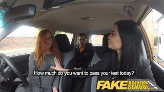 Fake Driving School readhead teen lets busty examiner have her way Anal ass