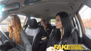 Fake Driving School readhead teen lets busty examiner have her way A trimmed