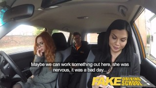 Fake Driving School readhead teen lets busty examiner have her way Big lubed
