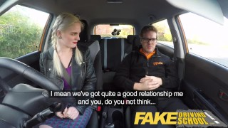 Fake Driving School student with big tits and hairy pussy has creampie  car sex teen squirt squirting orgasm british pigtails creampie big-tits squirt funny blonde big-boobs young hairy-pussy fakedrivingschool reality orgasm