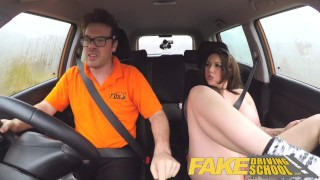 On school instructor a takes busty wild jailbird ride fake driving shaved tits