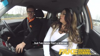 Fake Driving School busty jailbird takes instructor on a wild ride! Dark tits