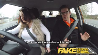 Fake Driving School busty jailbird takes instructor on a wild ride! porno