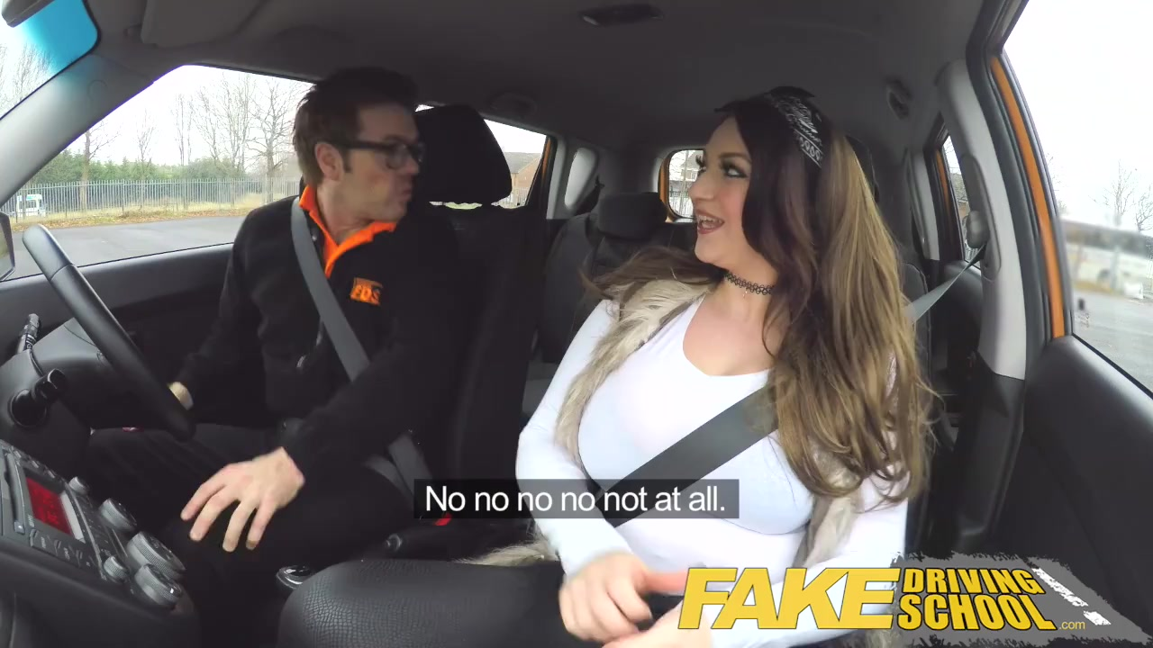 Fake driving school jailbird with big tits eats shaven pussy 2