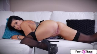 Pornstar Tease - Watch Romi striptease and blast her tiny pink pussy