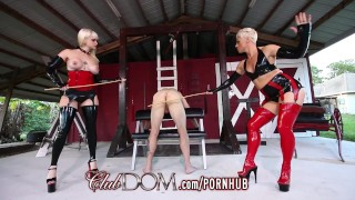 ClubDom Mistress Whip And Cane Before Milking Cumshot tight