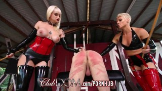ClubDom Mistress Whip And Cane Before Milking Strap lesbian