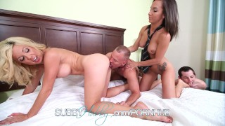 Busty Wife Fucks Stranger And Pegs Her Cuckold  paulina amore big tits pegging bi sexual subbyhubby cuckold blowjob milf kink foot fetish curious swallow cum shot parker swayzee