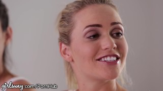 Girlsway Mia Malkova and Angela White help Lesbian Cum Pounded glasses