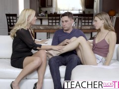 Young Teacher Lets Students Fuck At Her Place