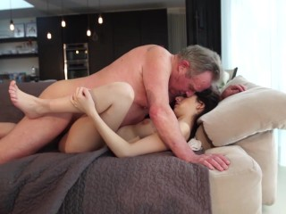 Old and Young Porn - Sweet innocent girlfriend gets fucked by grandpa