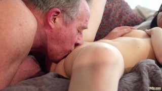 Old and Young Porn - Sweet innocent girlfriend gets fucked by grandpa Blonde foursome