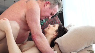 Old and Young Porn - Sweet innocent girlfriend gets fucked by grandpa Fellatio boobs