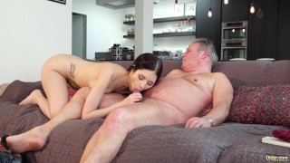 Old and Young Porn - Sweet innocent girlfriend gets fucked by grandpa Small blonde