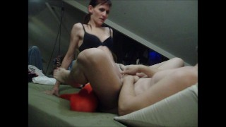 Hot Slut Fucked by Feisty Domme  strap on ass fuck submissive husband pegging his ass femdom strapon amateur wife pegging strapon femdom kink petite anal femdom pegging adult toys dominant wife