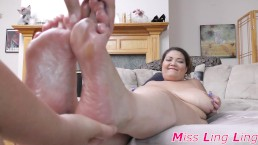 Heavy Chested Asian gets a foot rub and a dildo between her feet POV
