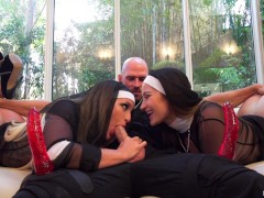 Nuns Dani Daniels and Kissa Sins Hardcore Threesome with Priest Johnny Sins