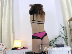 Nikky B strips and masturbates with a toy