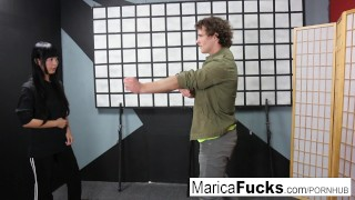 Master Marica teaches ninja student Robby the way Fuck reverse