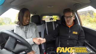 Fake Driving School nervous black teen filled up by her teacher in the car  ebony teen driving instructor black amateur small tits pov young car school fakedrivingschool reality petite teenager cum inside