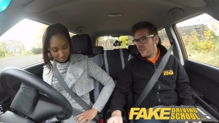 Fake Driving School nervous black teen filled up by her teacher in the car driving instructor cum inside young black amateur ebony teen car school small tits pov fakedrivingschool reality teenager petite