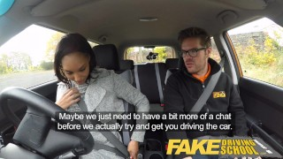 Fake Driving School nervous black teen filled up by her teacher in the car  driving instructor black amateur small tits pov young car school fakedrivingschool reality petite teenager ebony teen cum inside