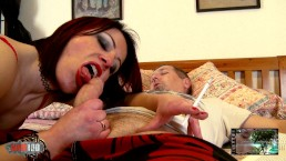 French MILF wearing tight spandex leggings doing great blowjob