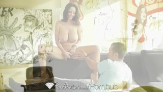PUREMATURE Busty mature Ava Addams interrupts phone call for fuck porno