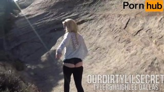 Preview 3 of Young Couple Sneaks Off Public Trail for a quick BJ  -Ourdirtylilsecret