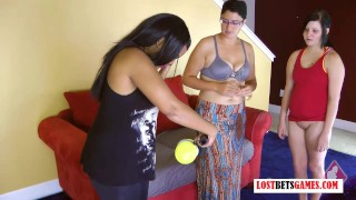 3 Girls Play a Pop the Bubble Game, Loser Ends up Naked