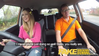 Fake Driving School big tits young hottie seduces the driver for early exam porno