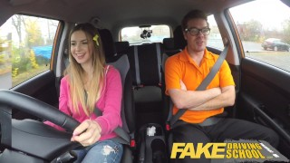 The hottie young early driver driving tits fake for exam seduces big school blonde fakedrivingschool