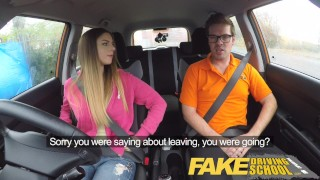 Fake Driving School big tits young hottie seduces the driver for early exam